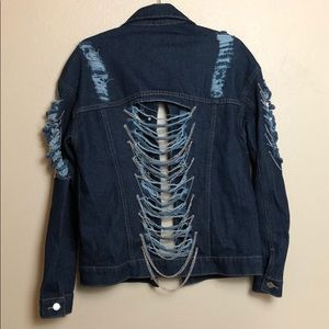 Distressed Denim Jacket with Chains Sz:S